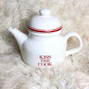 Vintage Kiss The Cook Ceramic Tea Pot